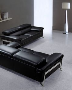 This Modern Black Leather Sofa Set features contemporary functions in an elegant form. Set includes a Sofa, Loveseat, and Chair with a sturdy chrome construction for aesthetic appeal.