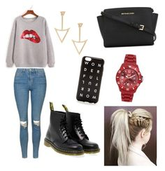 """""""💄💭"""" by camille-hnq ❤ liked on Polyvore featuring Topshop, Dr. Martens, Ice-Watch, J.Crew and MICHAEL Michael Kors"""
