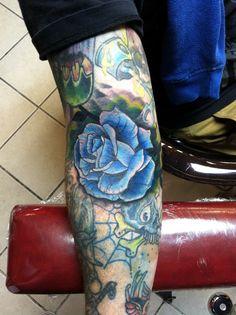 #Blue #Rose #Tattoo by Erik Kushner Dayton, Ohio