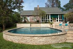 Do you need some inspiration for pool deck designs? 20 awesome above ground pools with decks, showcasing the myriad shapes and styles available on a budget. Above Ground Pool Landscaping, Small Backyard Pools, Backyard Pool Landscaping, Swimming Pools Backyard, Outdoor Pool, Lap Pools, Indoor Pools, Small Pools, Landscaping Ideas