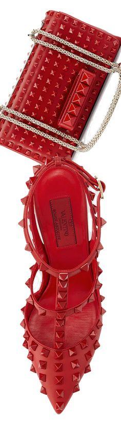 Valentino Allover Rockstud Slingback Pump, shown in Red and Valentino Va Va Voom Rockstud Shoulder Bag, shown in Red