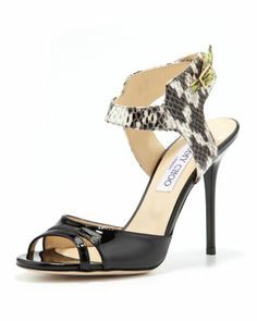 Marcia Patent/Snake Ankle-Wrap Sandal by Jimmy Choo at Bergdorf Goodman - My shoes for Saman's Wedding  ;)