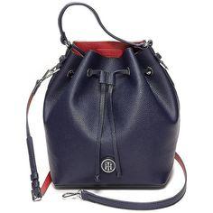1c88295da0e Tommy Hilfiger Drawstring Bucket Bag ($65) ❤ liked on Polyvore featuring  bags, handbags, shoulder bags, tommy hilfiger, blue purse, pvc purse,  drawstring ...