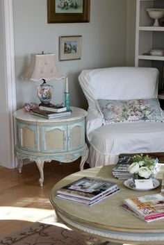 """My Gypsy Table in Annie Sloan Chalk Paint~     Duck Egg and Antoinette with      Country Grey and a touch of Old White.   I also added a band of Duck Egg around the coffee table   that was mostly Annie Sloan Country Grey"""