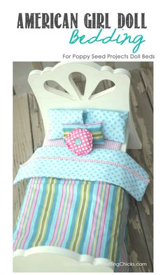 I was so excited when I found out that Poppy Seed Projects was going to start making doll beds that fit American Girl Dolls. As a mother of 3 girls, (and 3 American Girl dolls), American Girl Furniture, American Girl Doll Bed, Girls Furniture, American Girl Crafts, American Doll Clothes, Ag Doll Clothes, Doll Furniture, American Girls, Furniture Vintage