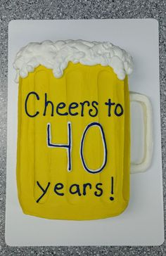 Buttercream frosting was used on this cake. Cheers to 40 years! Cheers And Beers To 40 Years, Beer Mug Cake, 40th Bday Ideas, 30th Party, 40th Birthday Cakes, Cheer Party, Cake Decorating Tutorials, Cake Tutorial, Buttercream Frosting