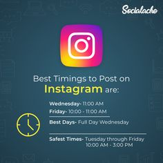 #DidYouKnow The best times to post to Instagram are Wednesday at 11 a.m and Friday at 10-11 a.m. Wednesday is overall the best day to post on Instagram. The safest time to post is  between Tuesday through Friday. 10 a.m. to 3 p.m. . . . #Socialache #ThursdayThoughts #socialmediasolutions #socialmediamarketing #socialmedia #contentcreator #contentmarketing #digitalmarketing #seoservices #digitalmarketingagency #digita #followme #dream #brandingsolutions #branding #socialtips #passion… Social Media Marketing Companies, Social Media Branding, Internet Marketing, Wednesday, Tuesday, Effective Marketing Strategies, Professional Seo Services, Best Time To Post, Content Analysis