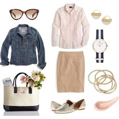 Gingham Shirt & Pencil Skirt by pinkngreennblack on Polyvore featuring Madewell, J.Crew, Jack Rogers, ABS by Allen Schwartz, Daniel Wellington, Kate Spade and NARS Cosmetics