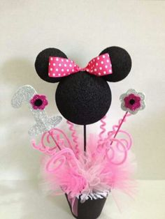 Minnie Mouse Topiary Centerpieces Birthday by ToodleTownBoutique Minnie Mouse 1st Birthday, Minnie Mouse Theme, Minnie Mouse Baby Shower, Mickey Mouse Parties, Mickey Party, Minnie Mouse Birthday Decorations, Decoration Minnie, 3rd Birthday Parties, 2nd Birthday