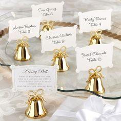 "Gold ""Kissing Bells"" Place Card Holder"