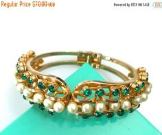 Green Rhinestone and Faux Pearl Clamper Bangle Bracelet, Hinged Bangle, Gold Tone, 1960s