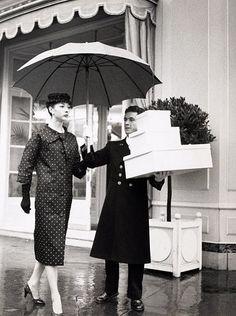 Renee Breton in polka-dot ensemble by Dior, photo by Louise Dahl-Wolfe, Paris, 1956