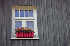 home - curb appeal landscaping - window flower boxes - home improvement - home design Window Box Flowers, Window Boxes, Flower Boxes, Hanging Flowers, Window Ideas, Window Wall, Building Costs, Building A House, Home Decor Styles