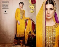 Superbly designed Yellow Netted Straight cut Plazo Style Salwar suit with heavy embroidery and hand work done. Along with Matching Santoon Bottom and Chiffon Duppatta.