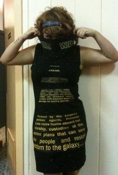 OMG This is awesome. A dress with the scroll from Star Wars, Episode IV: A New Hope.   Wondering how she did it, in awe of her talent!