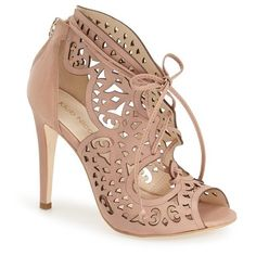 "Klub Nico 'Mariella Butterfly' Lace-Up Sandal, 4 1/4"" heel ($265) ❤ liked on Polyvore featuring shoes, sandals, nude leather, leather sandals, high heel shoes, cut out sandals, lace up sandals and lace up shoes"