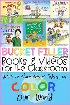 Bucket filler books and videos for the classroom to teach kids about being a bucket filler not a bucket dipper that shows kindness daily to others. Teachers can use these bucket filling idea books and videos during social-emotional learning lessons and activities that promote kindness in the classroom with kids. #bucketfiller #charactereducation #booksforkids #kindness #bucketfilleractivities Teaching Kindness, Kindness Activities, Book Activities, Counselling Activities, Toddler Activities, Bucket Filling Activities, Bucket Filling Classroom, Bucket Filler Book, Bucket Fillers