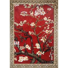 Branches of an Almond Tree in Blossom, Ruby Red with Rococo Silver 24'X36'