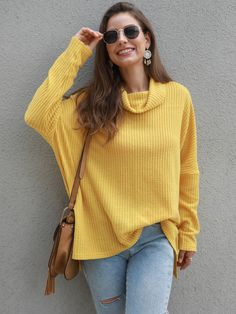 Coupon Code,YS15,15 percent off Yellow Long Sleeves Cowl Neck Collar Oversize Jumper Fashion Sale, New Fashion, Fashion News, Autumn Fashion, Fashion Women, Fashion Outfits, Casual Sweaters, Winter Sweaters, Long Sweaters