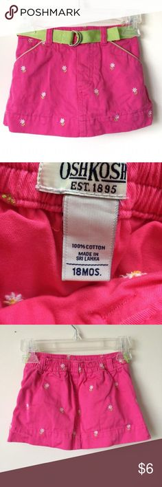 Girls Osh Kosh B'Gosh Skirt 18 Months This bright pink skirt has white flowers embroidered all over and an attached green belt. Excellent condition from a smoke free home. Osh Kosh B'Gosh Bottoms Skirts