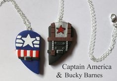Captain America and Bucky Barnes Inspired by CharmingClayCreation << haha, friendship necklaces! :D