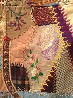 I ❤ crazy quilting & embroidery . . . Elizabeth Parkhurst Williams Crazy Quilt (1884-90) Lavender Leaves- A very rare BEAUTY. I love the overall pastel impression & softness of most tones. Although there are many vibrant jewel tones as well. All the loving artistic needlework embroidery of Mary Beatrice. Special dates, initials, musical notes on a scale, blessings symbols, cupid's hearts, roses, tulips, sunbursts, ferns & so many other interesting floral & geometric stitches.