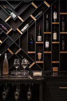 Anni e bicchieri di vino non si contano mai = Age and glasses of wine should never be counted. We're pretty sure our homeowner would agree… Wine Rack Design, Wine Cellar Design, Wine Cellar Modern, Modern Wine Rack, Home Bar Rooms, Home Bar Decor, Wine Shelves, Wine Storage, Bar Shelves