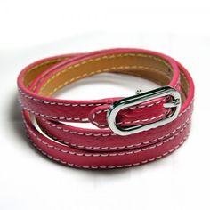 Pink leather bracelet in belt look - 22,95 €