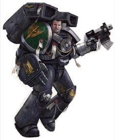 A Deathwatch Assault Marine of the Dark Angels Space Marine Chapter.