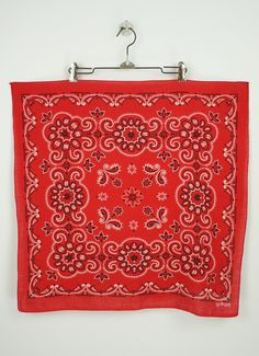 Super cool collectible 1950's red bandana in perfect vintage condition. This is a Fast Color 100% cotton bandana with the iconic elephant with it's trunk up printed along the selvedge edge. Fantastic