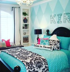 My oldest just turned 10 and is asking for a more grown up room. What do you think? Is this good for a 10 year old girl? I'm trying to think ... Longevity. #bedroom #tweendecor #tween #blue #interiordesign #bedroomdesign by georginaware