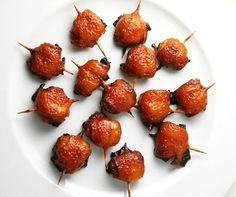 Bacon wrapped water chestnuts; tasty appetiser, dairy free and NOT seafood!