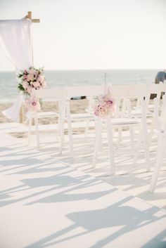 Chair Decor - Beach Wedding in Pink and White - Beach Weddings at The Sunset - Malibu, California - Photography: www.kristamason.com