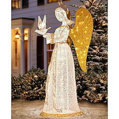 Christmas Angel With Dove Pre Lit Nativity Scene Display Sculpture  Glittering Tinsel Yard Outdoor Decor Holiday Christmas Lighted Decoration