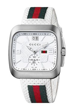 $995, Green and Red Horizontal Striped Nylon Watch: Gucci Coupe Leather Strap Watch 40mm. Sold by Nordstrom. Click for more info: https://lookastic.com/men/shop_items/48376/redirect