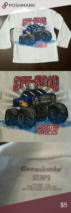 Monster Truck Off-Road Tee Monster Truck Off-Road  Lightweight Long Sleeve Tee in play clothes condition price reflects general wear.  (Consider bundling to get more value out of the cost of Shipping and feel free to make offers on bundles)  Smokefree Petfree Clean Home Thank you for visiting my closet!! Garanimals Shirts & Tops Tees - Long Sleeve