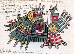 Huitzilopochtli, patron of the Panquetzaliztli festival, Codex Tudela
