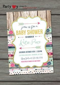 Tribal Baby Shower Invitation, Aztec Baby Shower Invitation, Rustic Baby Shower Invitation, Tee Pee, Arrows, Baby Shower, Baby Shower Invite by PartyInvitesAndMore on Etsy https://www.etsy.com/listing/232839983/tribal-baby-shower-invitation-aztec-baby