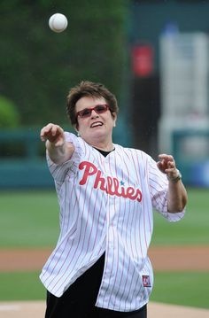 Tennis legend Billie Jean King throws out a first pitch