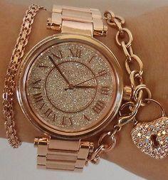 Michael Kors Women's Skylar Rose Gold Tone Bracelet Glitz 42mm Watch MK5868 $350   eBay #watch #searchub