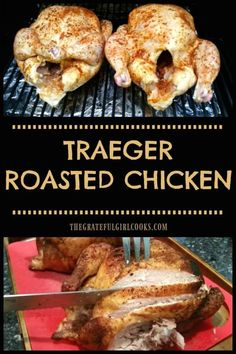 Traeger Roasted Chicken, well seasoned with a dry rub spice mix, is a great meal! Cooking whole chickens on a smoker/pellet grill couldn't be easier!  via @gratefuljb Grilled Whole Chicken, Smoked Whole Chicken, Cooking Whole Chicken, Cooking On The Grill, Roasted Chicken, Smoker Cooking, Grilled Meat, Roast Chicken On Bbq, Chicken On The Grill