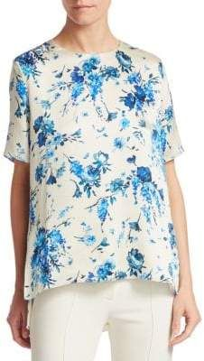 3cf1ac32 ADAM by Adam Lippes Hammered Silk Floral Top Floral Tops, Top Flowers