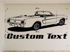 "1965 Ford Mustang Convertible Auto Car Decor Vinyl Wall Decal Sticker Graphic Large 48"" L"