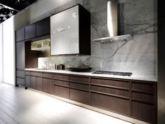 large kitchen remodel planner with dark brown cabinets and marble grey wall color with white tile floor