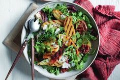 This chargrilled kipfler potato salad is a delicious side dish and is ready in just 40 minutes. Mango Chicken Curry, Healthy Zucchini Fritters, Vegetarian Nachos, Pork Schnitzel, Asian Stir Fry, Salad Recipes, Healthy Recipes, Dinner Bowls, Midweek Meals