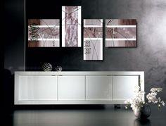 Produzione Quadri moderni astratti - 100% dipinti a mano.  4 Quadri Moderni Astratti Toni del marrone tortora beig bianco