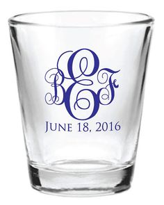96 Personalized 1.5oz Wedding Favor Glass Shot Glasses New Initial Monogram Custom Wedding Favors