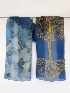 Gold Tree silk scarf hand painted by #minkulul Luiza #Malinowska