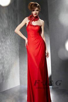 2014 Red Appliques Halter One Shoulder Prom Dress 30689