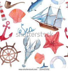 """Акварель море навигации, бесшовный фон ручная роспись """"морская жизнь"""" текстуры с морская звезда, якорь, омары, корабль, ракушки и рыбы"""